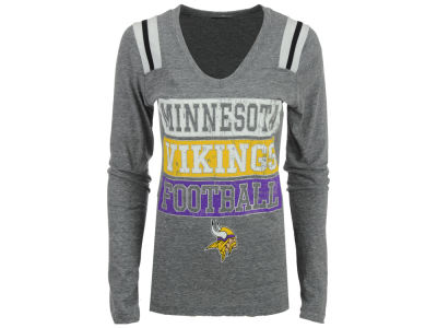 Minnesota Vikings 5th & Ocean NFL Women's Triple Blocked Long Sleeve T-Shirt