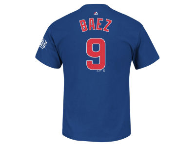 Chicago Cubs Javier Baez Majestic MLB Men's 2016 World Series Patch Official Player T-Shirt