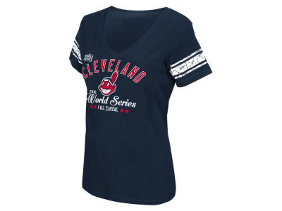 Cleveland Indians MLB Women's 2016 World Series Participant Sleeve Stripe T-Shirt