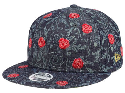 Beauty and the Beast New Era All Over Denim Rose 9FIFTY Snapback Cap