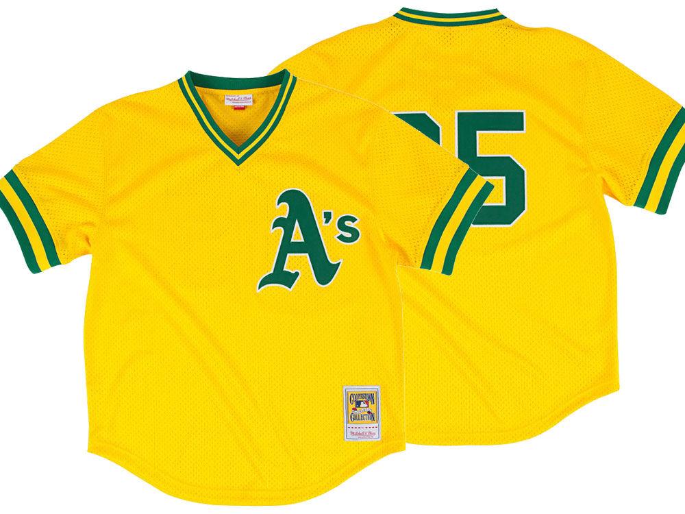 5abb7450e69 Oakland Athletics Rickey Henderson Mitchell   Ness MLB Men s Authentic Mesh  Batting Practice V-Neck Jersey