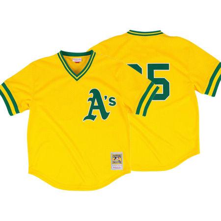 Oakland Athletics Rickey Henderson Mitchell & Ness MLB Men's Authentic Mesh Batting Practice V-Neck Jersey