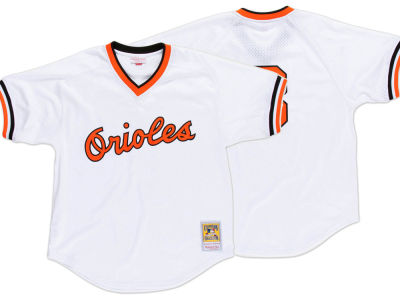 Baltimore Orioles Cal Ripken Jr. Mitchell & Ness MLB Men's Authentic Mesh Batting Practice V-Neck Jersey