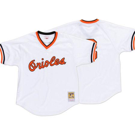 Baltimore Orioles Cal Ripken Jr. Mitchell & Ness MLB Men's Authentic Mesh Batting Practice V-Neck Jersey
