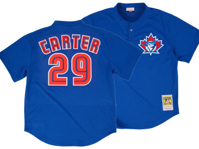 Toronto Blue Jays Joe Carter Mitchell & Ness MLB Men's Authentic Mesh Batting Practice V-Neck Jersey