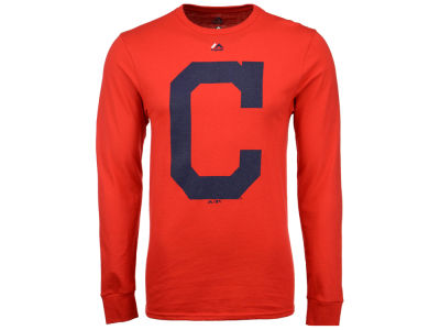 Cleveland Indians Majestic MLB Men's Coop Legacy Logo Long Sleeve T-Shirt