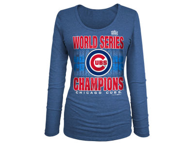 Chicago Cubs MLB Women's 2016 World Series Champ Glitter Long Sleeve T-Shirt