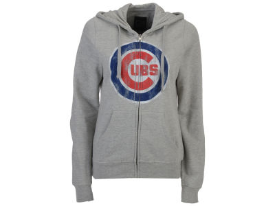 Chicago Cubs MLB Women's Full Zip Distressed Hooded Sweatshirt
