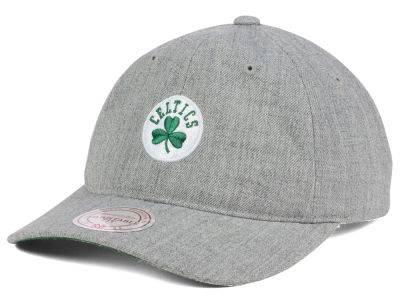 Boston Celtics Mitchell and Ness NBA Heather Grey Dad Hat