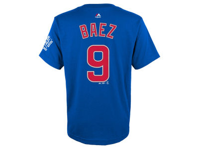 Chicago Cubs Javier Baez Majestic MLB Youth 2016 World Series Champ Name & Number T-Shirt