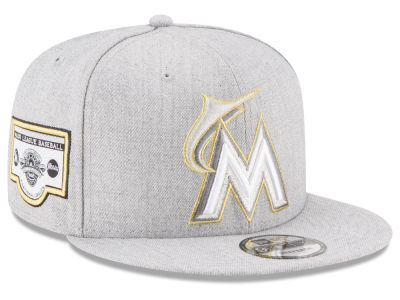 Miami Marlins New Era MLB Heather Metallic Patch 9FIFTY Snapback Cap