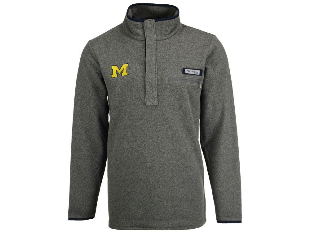 Michigan Wolverines Columbia NCAA Men's Harborside Fleece Pullover ...