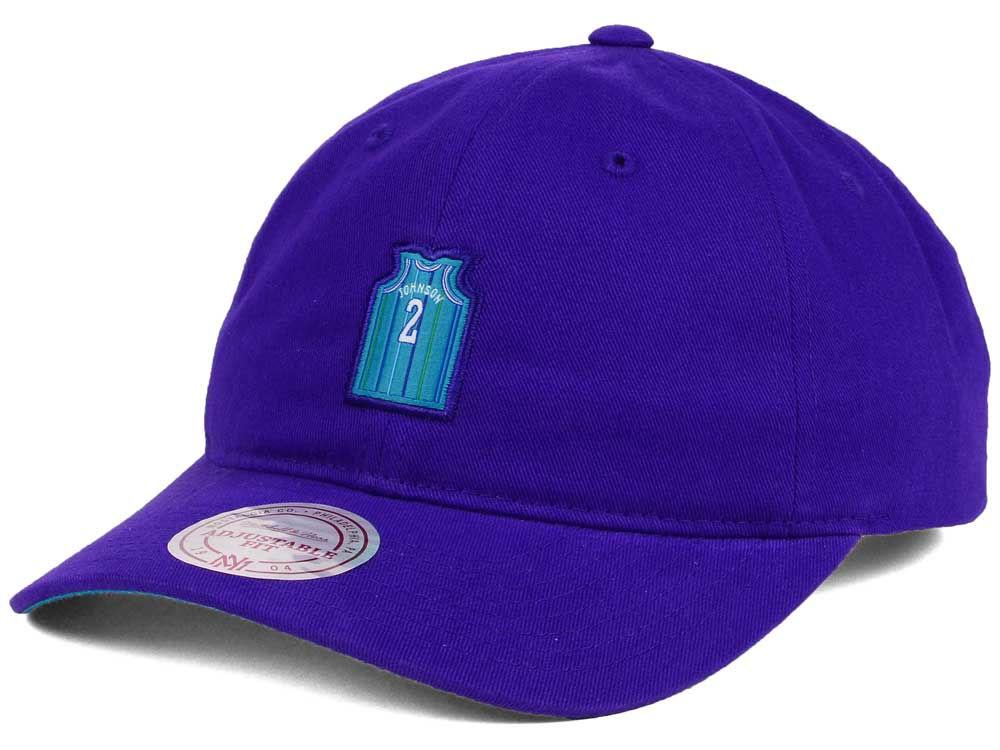 Charlotte Hornets Larry Johnson Mitchell   Ness NBA Deez Jersey Dad Hats  fd11a6485b0c
