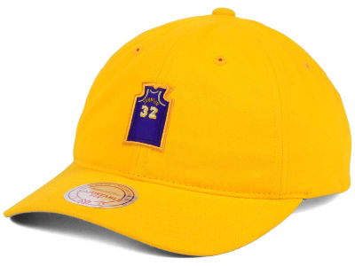 Los Angeles Lakers Magic Johnson Mitchell and Ness Deez Jersey Dad Hats