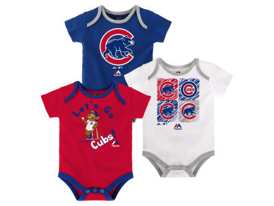 Chicago Cubs Majestic MLB Newborn Go Team Bodysuit Set