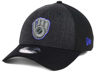 Milwaukee Brewers New Era MLB Black Heathered 39THIRTY Cap