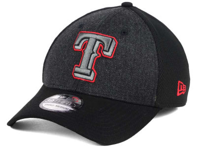 Texas Rangers New Era MLB Black Heathered 39THIRTY Cap