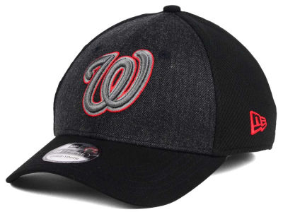 Washington Nationals New Era MLB Jr Black Heathered 39THIRTY Cap