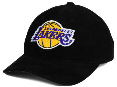 Los Angeles Lakers Mitchell & Ness NBA Pig Suede Dad Strapback Hat
