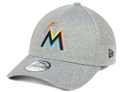 Miami Marlins New Era MLB Heathered Perf Patch 39THIRTY Cap