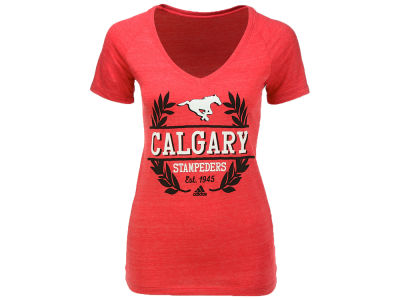 Calgary Stampeders adidas CFL Women's Laurel Bar T-shirt