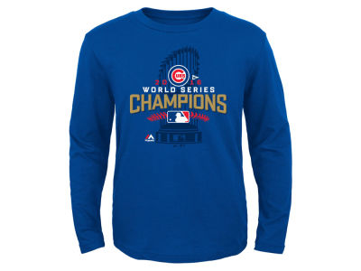 Chicago Cubs Majestic MLB Youth 2016 World Series Champ Locker Room Long Sleeve T-Shirt