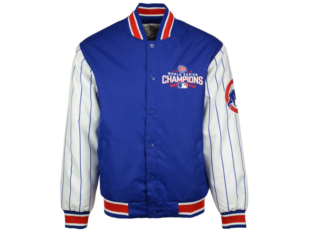 Chicago Cubs JH Design MLB Men s 2016 World Series Champ Pinstripe Jacket  ed7c8f0a9