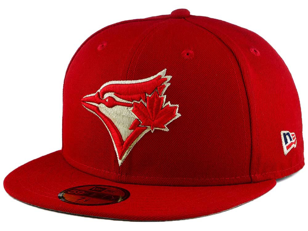 Toronto Blue Jays New Era MLB Patriotic Trim Fitted 59FIFTY Cap ... 53c9047bf6f