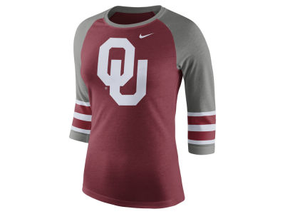 Oklahoma Sooners Nike NCAA Women's Team Stripe Logo Raglan T-shirt
