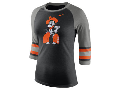 Oklahoma State Cowboys Nike NCAA Women's Team Stripe Logo Raglan T-shirt