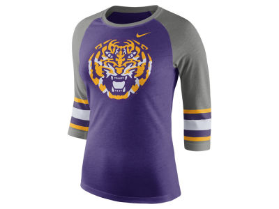LSU Tigers Nike NCAA Women's Team Stripe Logo Raglan T-shirt