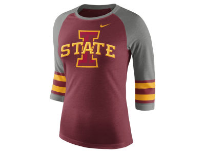 Iowa State Cyclones Nike NCAA Women's Team Stripe Logo Raglan T-shirt