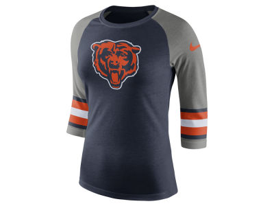Chicago Bears Nike NFL Women's Stripe Raglan Triblend T-Shirt