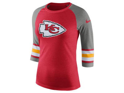 Kansas City Chiefs Nike NFL Women's Stripe Raglan Triblend Tee
