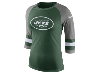 New York Jets Nike NFL Women's Stripe Raglan Triblend Tee