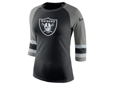 Oakland Raiders Nike NFL Women's Stripe Raglan Triblend T-Shirt