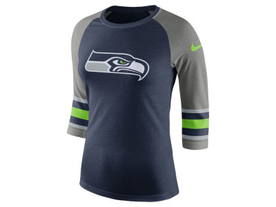 Seattle Seahawks Nike NFL Women's Stripe Raglan Triblend T-Shirt