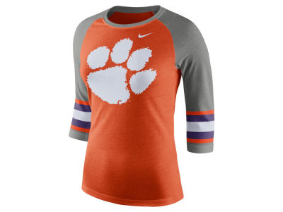 Clemson Tigers Nike NCAA Women's Team Stripe Logo Raglan T-shirt