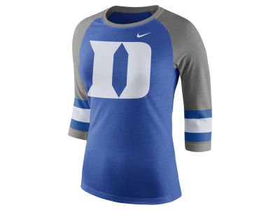 Duke Blue Devils Nike NCAA Women's Team Stripe Logo Raglan T-shirt