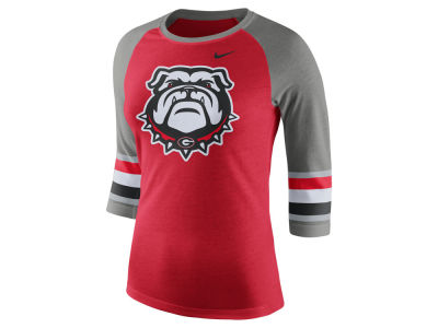Georgia Bulldogs Nike NCAA Women's Team Stripe Logo Raglan T-shirt