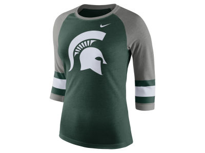 Michigan State Spartans Nike NCAA Women's Team Stripe Logo Raglan T-shirt