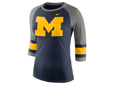 Michigan Wolverines Nike NCAA Women's Team Stripe Logo Raglan T-shirt