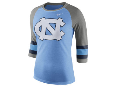 North Carolina Tar Heels Nike NCAA Women's Team Stripe Logo Raglan T-shirt