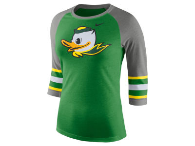 Oregon Ducks Nike NCAA Women's Team Stripe Logo Raglan T-shirt