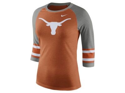 Texas Longhorns Nike NCAA Women's Team Stripe Logo Raglan T-shirt
