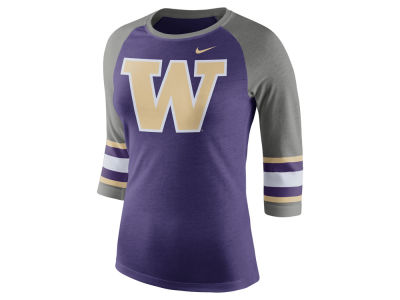Washington Huskies Nike NCAA Women's Team Stripe Logo Raglan T-shirt