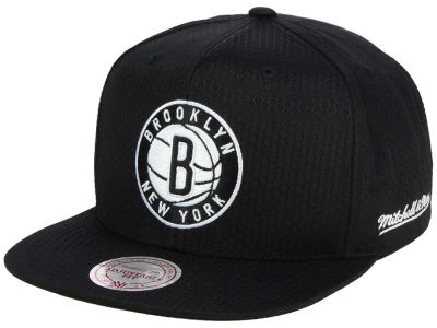 Brooklyn Nets Mitchell & Ness NBA Black Ripstop Honeycomb Snapback Cap