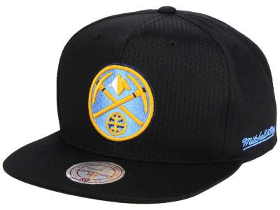 Denver Nuggets Mitchell & Ness NBA Black Ripstop Honeycomb Snapback Cap