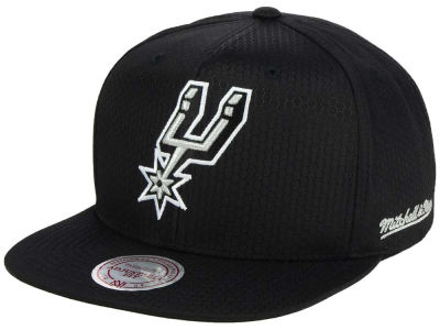 San Antonio Spurs Mitchell & Ness NBA Black Ripstop Honeycomb Snapback Cap