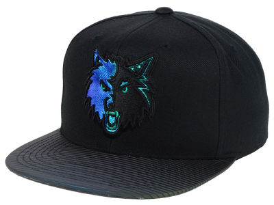 Minnesota Timberwolves Mitchell & Ness NBA Black Logo Gaze Snapback Cap